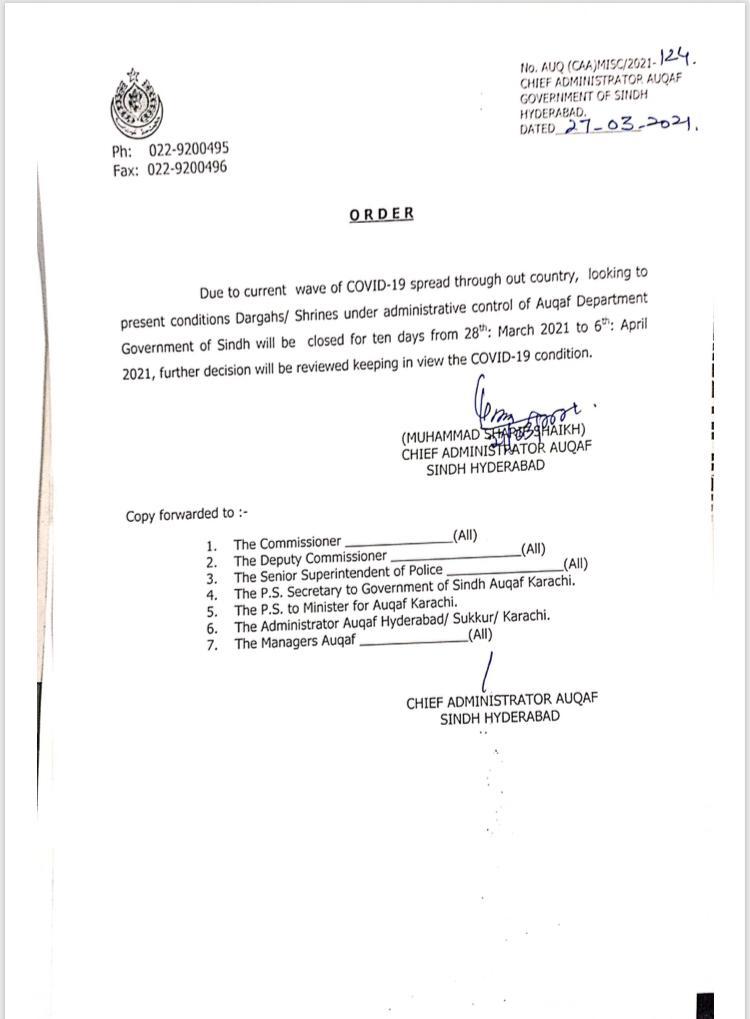 Sindh shrines to shut